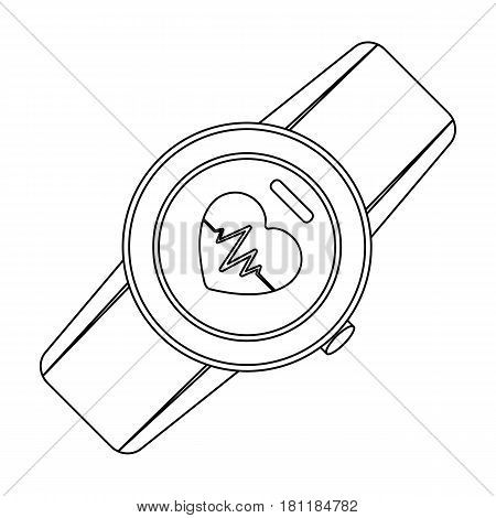 Sports wrist watch with heart rate measurement. Watch for athletes .Gym And Workout single icon in outline style vector symbol stock web illustration.