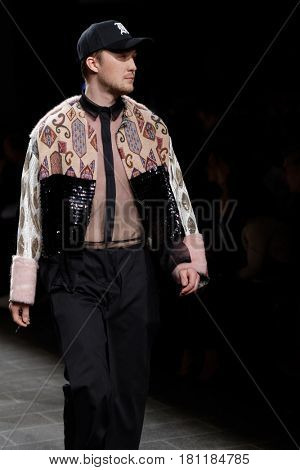 ST. PETERSBURG, RUSSIA - APRIL 1, 2017: Collection of young designers on the fashion show during Mercedes-Benz Fashion Day St. Petersburg. The contest New Names in Design is held by Sobaka.ru magazine
