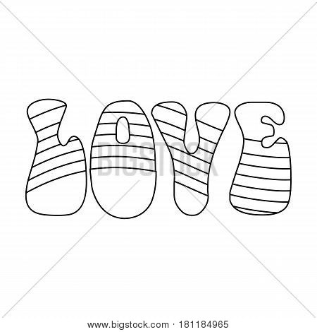 Rainbow inscription of the word love.Hippy single icon in outline style vector symbol stock illustration .