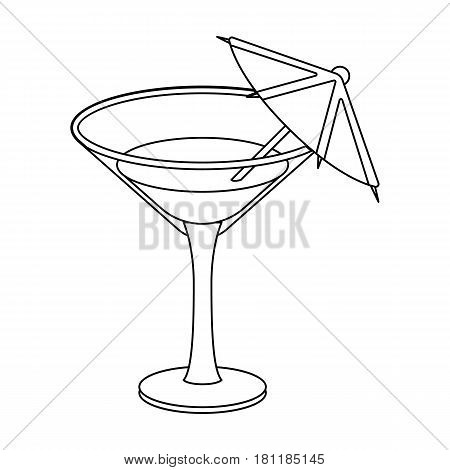Glass with a cocktail.Party and parties single icon in outline style vector symbol stock web illustration.