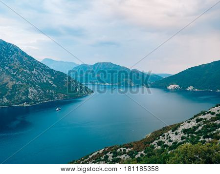 The island of Gospa od Skrpela, Kotor Bay, Montenegro. View from the high mountain above Risan.