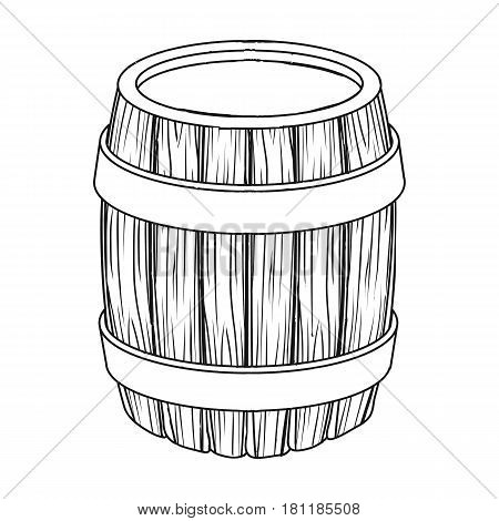 Oak barrel beer. A barrel in which beer is brewed. Pub single icon in outline style vector symbol stock web illustration.