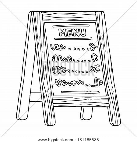 Street bar menu.A sign with the tasty dishes in the street. Pub single icon in outline style vector symbol stock web illustration.