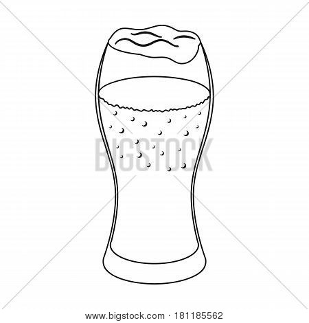 A glass of wheat beer with foam.Alcoholic beverage to relax. Pub single icon in outline style vector symbol stock web illustration.