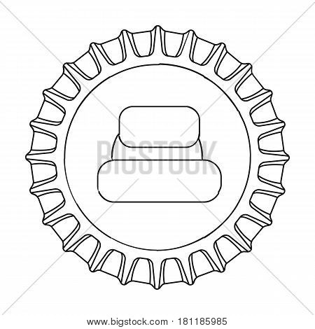 Metal beer cap.Lid for closing bottles . Pub single icon in outline style vector symbol stock web illustration.