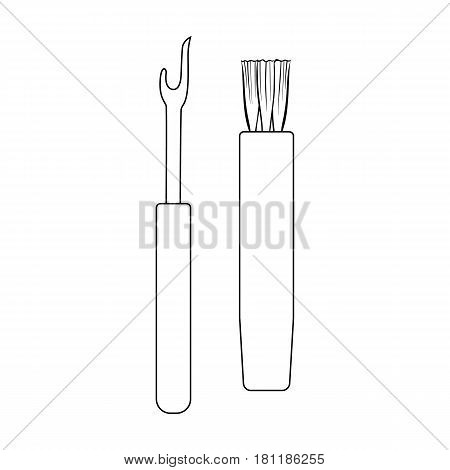 Tools for sewing.Sewing or tailoring tools kit single icon in outline style vector symbol stock web illustration.