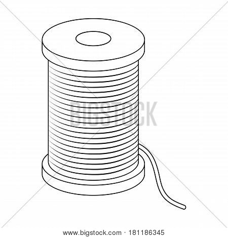 A reel of blue thread.Sewing or tailoring tools kit single icon in outline style vector symbol stock web illustration.