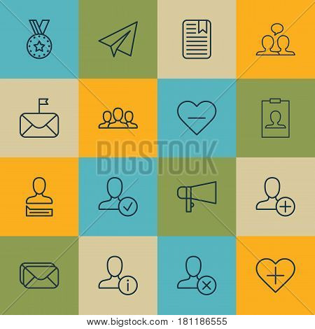 Set Of 16 Social Network Icons. Includes Chatting Person, Identity Card, Startup And Other Symbols. Beautiful Design Elements.