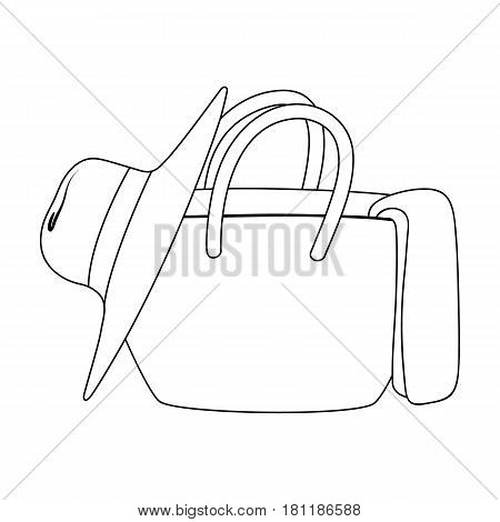 Beach bag with hat.Summer rest single icon in outline style vector symbol stock web illustration.