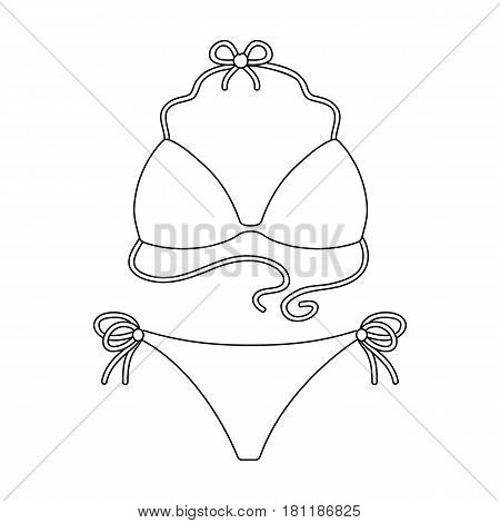 Blue swimsuit for women. Summer rest single icon in outline style vector symbol stock web illustration.