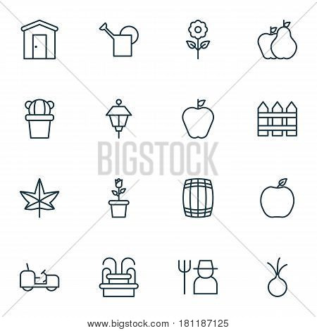Set Of 16 Agriculture Icons. Includes Bailer, Lantern, Decorative Plant And Other Symbols. Beautiful Design Elements.