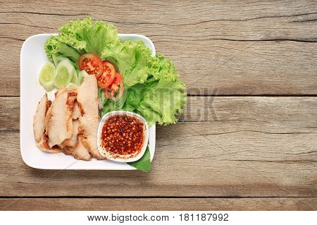 Grilled Pork of thai foods this food of popular in Northeast Thailand.
