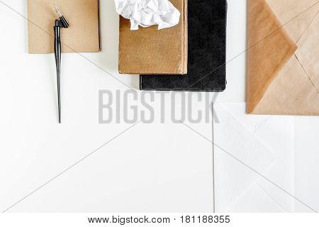 author office in professional writer concept on white work desk background top view mock up