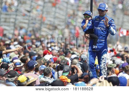 April 09, 2017 - Ft. Worth, Texas, USA: Kyle Larson (42) waves to the crowd before the start of the O'Reilly Auto Parts 500 at Texas Motor Speedway in Ft. Worth, Texas.
