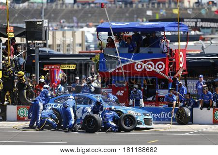 April 09, 2017 - Ft. Worth, Texas, USA: Kyle Larson (42) pits his car during the O'Reilly Auto Parts 500 at Texas Motor Speedway in Ft. Worth, Texas.