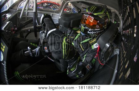 April 08, 2017 - Ft. Worth, Texas, USA: Kurt Busch (41) straps into his race car before the O'Reilly Auto Parts 500 at Texas Motor Speedway in Ft. Worth, Texas.