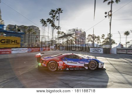April 07, 2017 - Long Beach, California, USA:  The Chip Ganassi Racing Ford GT races through the turns at the Bubba Burger Sports Car Grand Prix At Long Beach in Long Beach, California.