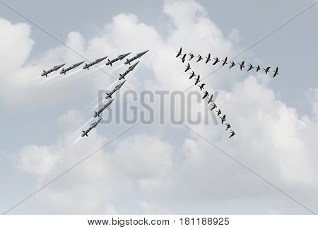 War peace concept as a group of peaceful geese in a v formation facing dangerous missiles as a metaphor for violence versus pacifism or diplomacy with 3D illustration elements.