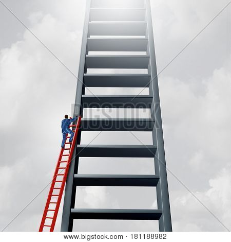 Startup entrepreneur and joining an established business market as a businessman climbing a small ladder to join a bigger one as a success metaphor with 3D illustration elements.