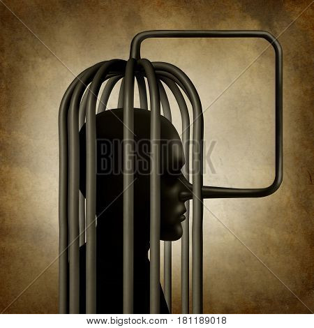 Incriminating yourself or self incrimination concept as a person with a long pinocchio nose symbol that transforms into a cage as a guilt psychology metaphor for self conviction or trapped by lies with 3D illustration elements.
