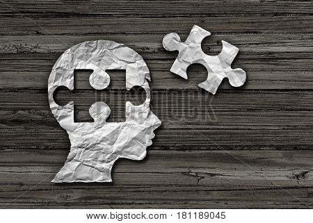 Children learning solution and early education strategy or mental health care and cognition concept as crumpled paper shaped as a child and jigsaw puzzle piece in a 3D illustration style.