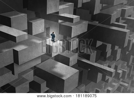 Business challenge concept as a lost and stranded businessman in a complicated abstract maze as a metaphor for career complication and seeking advice with 3D illustration elements.