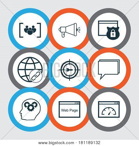 Set Of 9 Marketing Icons. Includes Keyword Marketing, Connectivity, Media Campaign And Other Symbols. Beautiful Design Elements.