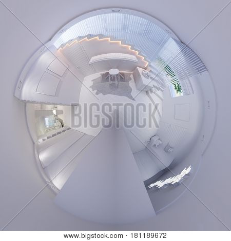 3d illustration spherical 360 degrees, seamless panorama of staircase hall interior design. The room in a modern style. Tiny little planet