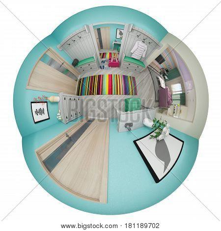 3d illustration spherical 360 degrees, seamless panorama hallway interior design. Modern studio apartment in the Scandinavian minimalist style