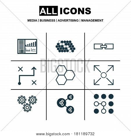 Set Of 9 Machine Learning Icons. Includes Branching Program, Algorithm Illustration, Controlling Board And Other Symbols. Beautiful Design Elements.
