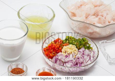 Peruvian ceviche preparation : Ingredients to prepare white fish ceviche