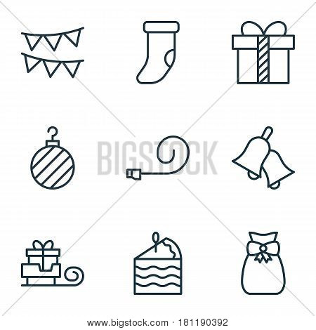 Set Of 9 Holiday Icons. Includes Fireplace Decoration, Gift, Present Pouch And Other Symbols. Beautiful Design Elements.