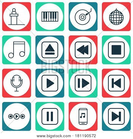 Set Of 16 Music Icons. Includes Dance Club, Rewind Back, Mute Song And Other Symbols. Beautiful Design Elements.