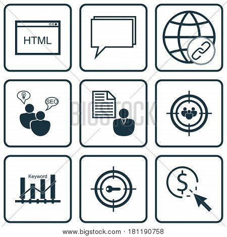Set Of 9 Marketing Icons. Includes Report, Keyword Optimisation, Keyword Marketing And Other Symbols. Beautiful Design Elements.
