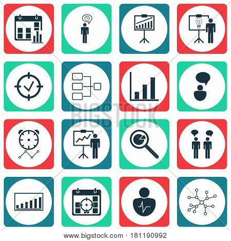 Set Of 16 Management Icons. Includes Report Demonstration, Approved Target, Team Meeting And Other Symbols. Beautiful Design Elements.