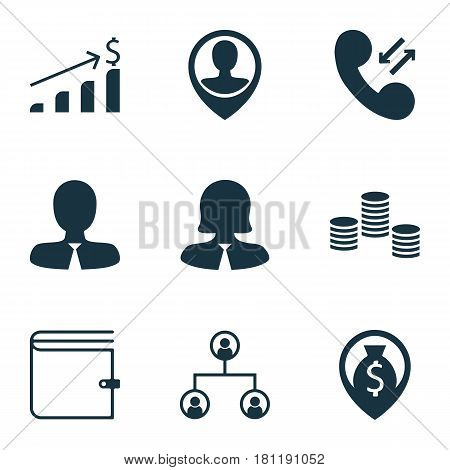 Set Of 9 Hr Icons. Includes Money, Successful Investment, Manager And Other Symbols. Beautiful Design Elements.
