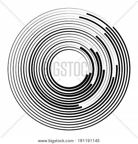 Concentric Circles Geometric Element. Radial, Radiating Circular Graphic.
