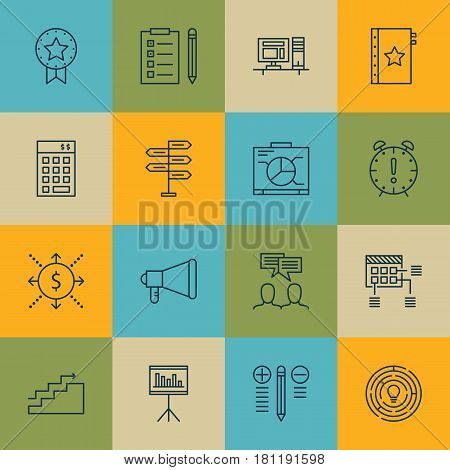 Set Of 16 Project Management Icons. Includes Computer, Schedule, Present Badge And Other Symbols. Beautiful Design Elements.