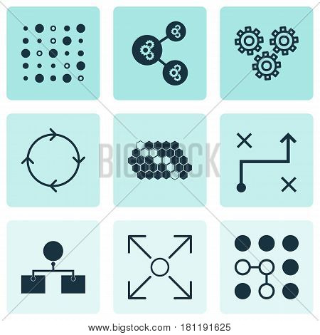 Set Of 9 Machine Learning Icons. Includes Mechanism Parts, Hive Pattern, Recurring Program And Other Symbols. Beautiful Design Elements.