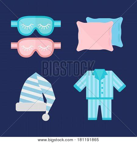 Sleep time pajamas icon flat isolated vector illustration. Sleep icon sweat dream. Night rest human pyjamas, blindfold, sleepwear icon