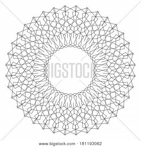 Geometric circular pattern. Abstract motif with radiating intersecting lines poster