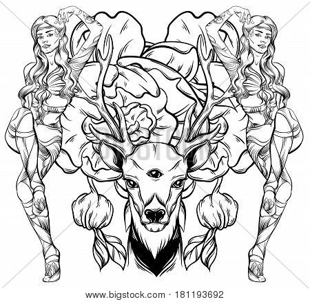 Hand drawn beautiful hand sketched deer. Illustration of deer's portriat with tree eyes. Alchemy religion spirituality occultism tattoo art coloring books. Template for card poster banner print for t-shirt.