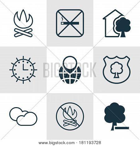 Set Of 9 Eco-Friendly Icons. Includes Timber, Pin Earth, Cloud Cumulus And Other Symbols. Beautiful Design Elements.