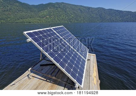 The solar panel on the pier at Lake Teletskoye