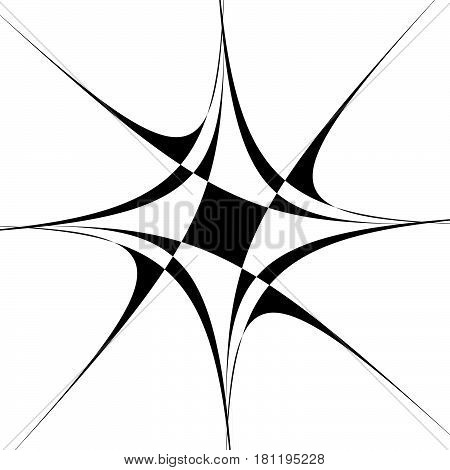 Abstract Black And White Spiral. Radial, Radiating Lines With Spiral Distortion. Artistic Non-figura