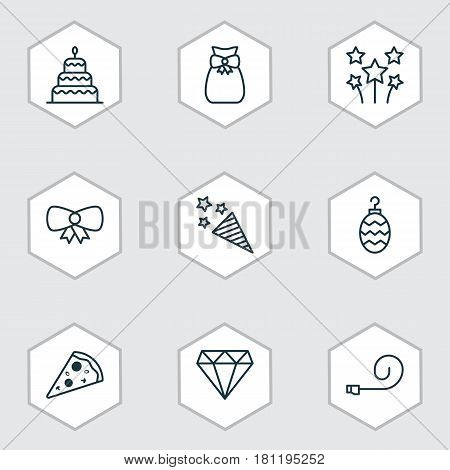 Set Of 9 Holiday Icons. Includes Festive Fireworks, Present Pouch, Brilliant And Other Symbols. Beautiful Design Elements.