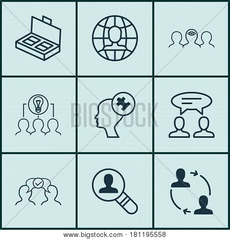 Set Of 9 Business Management Icons. Includes Cooperation, Collaborative Solution, Open Vacancy And Other Symbols. Beautiful Design Elements.