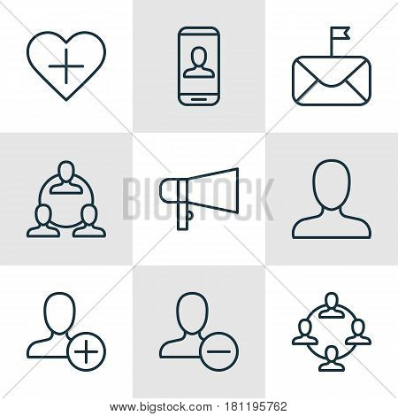 Set Of 9 Communication Icons. Includes Significant Letter, Insert Person, Web Profile And Other Symbols. Beautiful Design Elements.