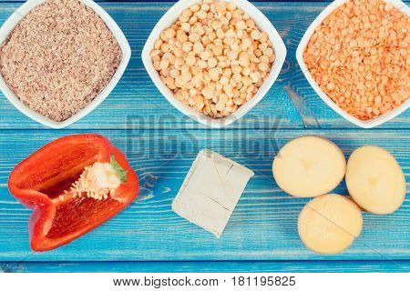 Vintage Photo, Products And Ingredients Containing Vitamin B6 And Dietary Fiber, Healthy Nutrition
