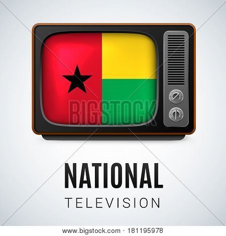 Vintage TV and Flag of Guinea-Bissau as Symbol National Television. Button with flag colors